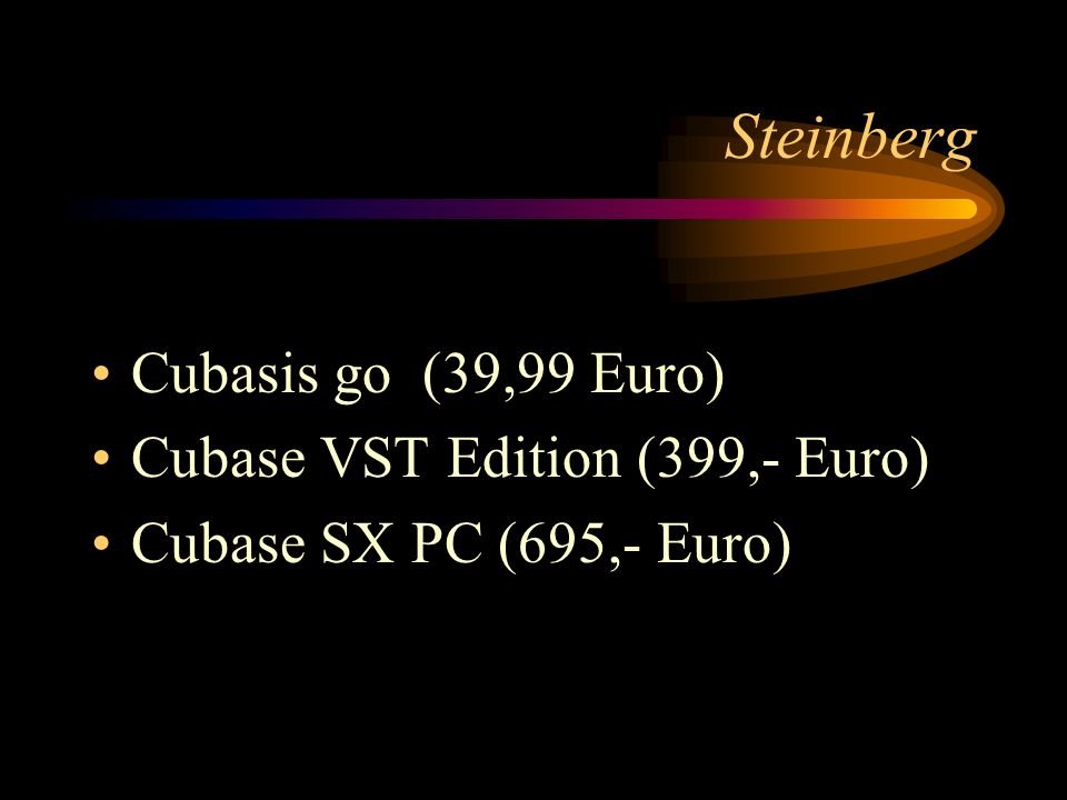 Steinberg Cubasis go (39,99 Euro) Cubase VST Edition (399,- Euro)