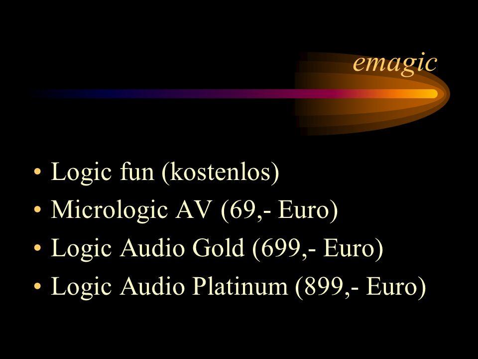emagic Logic fun (kostenlos) Micrologic AV (69,- Euro)