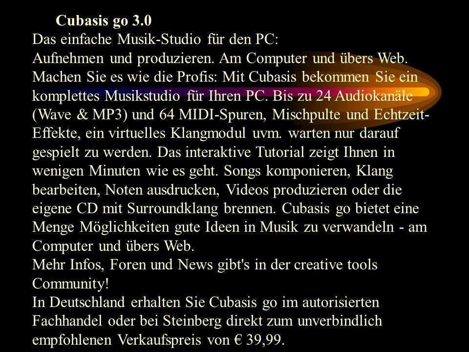 Cubasis go 3.0 Das einfache Musik-Studio für den PC: Aufnehmen und produzieren. Am Computer und übers Web.