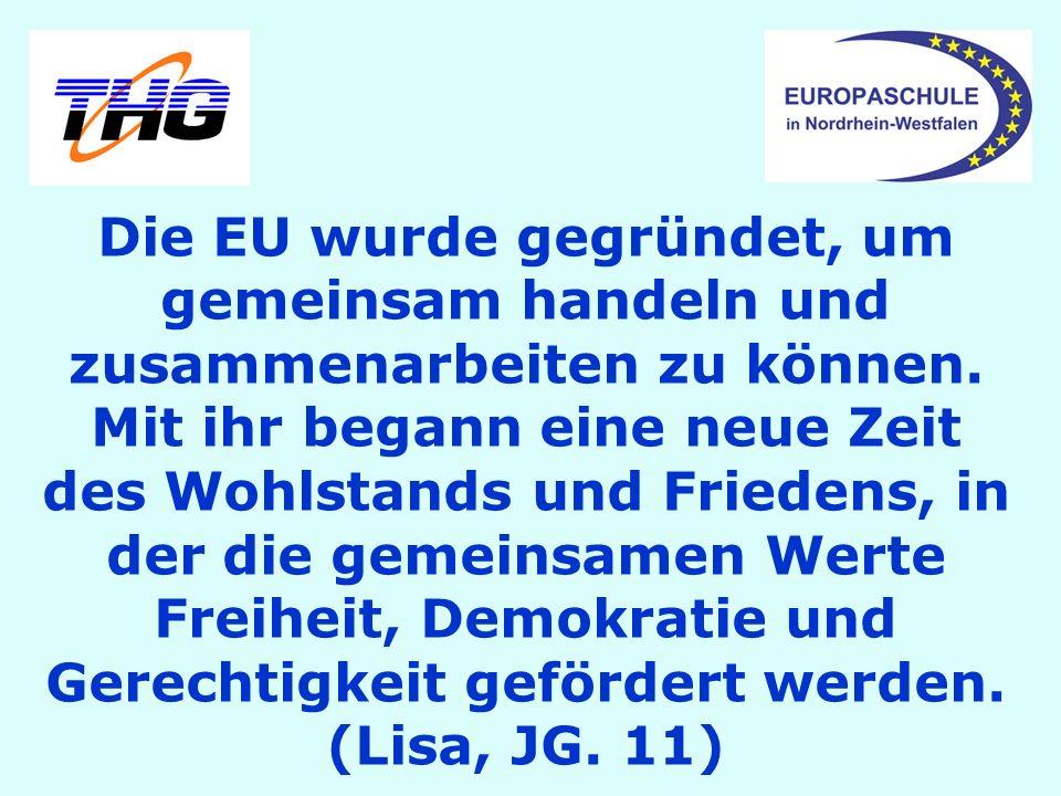 Die EU wurde gegründet, um gemeinsam handeln und zusammenarbeiten zu können.