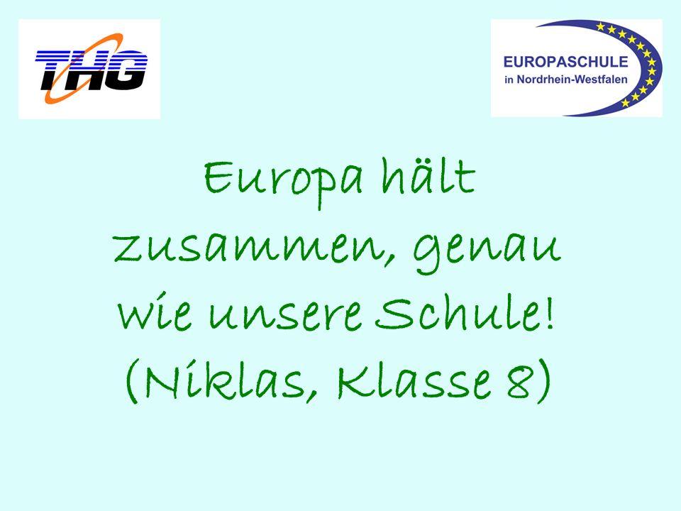 Europa hält zusammen, genau wie unsere Schule! (Niklas, Klasse 8)