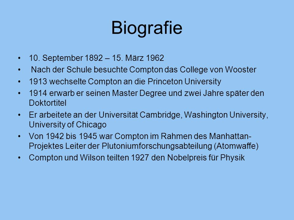Biografie 10. September 1892 – 15. März 1962