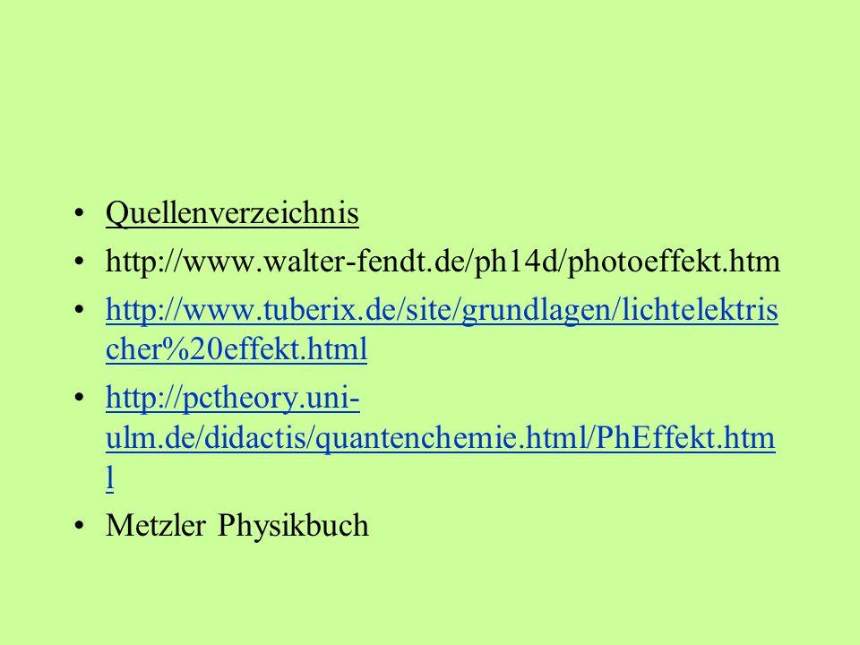 Quellenverzeichnishttp://www.walter-fendt.de/ph14d/photoeffekt.htm. http://www.tuberix.de/site/grundlagen/lichtelektrischer%20effekt.html.