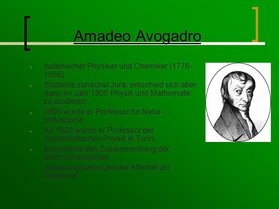 Amadeo Avogadro italienischer Physiker und Chemiker (1776-1856)