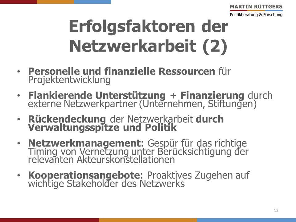 Erfolgsfaktoren der Netzwerkarbeit (2)