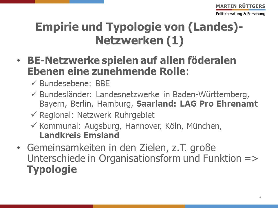 Empirie und Typologie von (Landes)-Netzwerken (1)