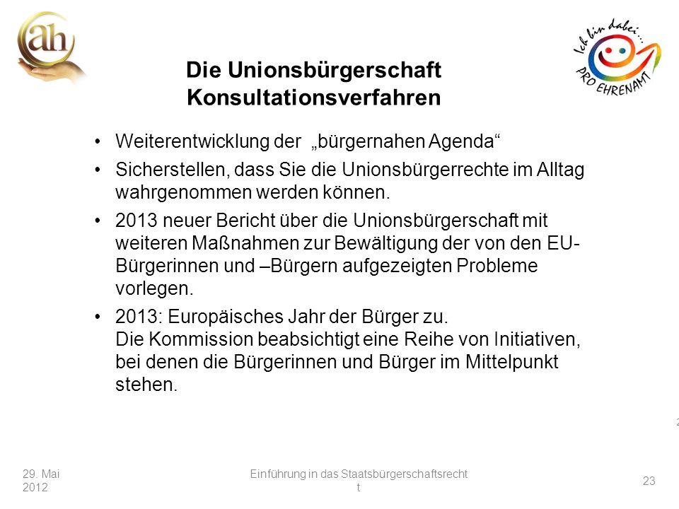 Die Unionsbürgerschaft Konsultationsverfahren
