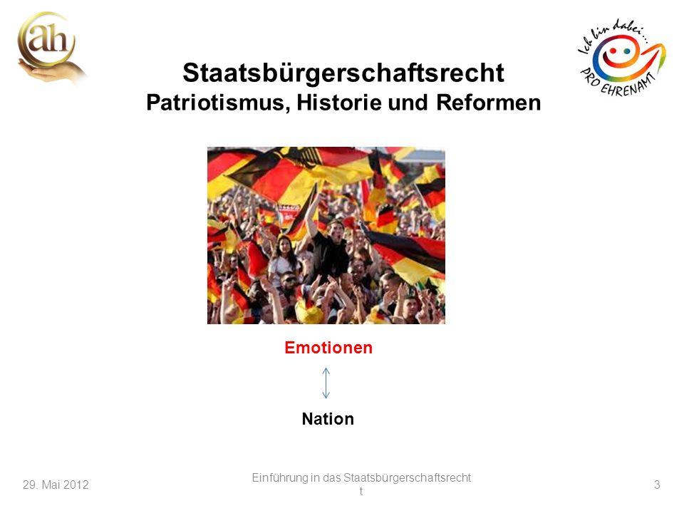 Staatsbürgerschaftsrecht Patriotismus, Historie und Reformen