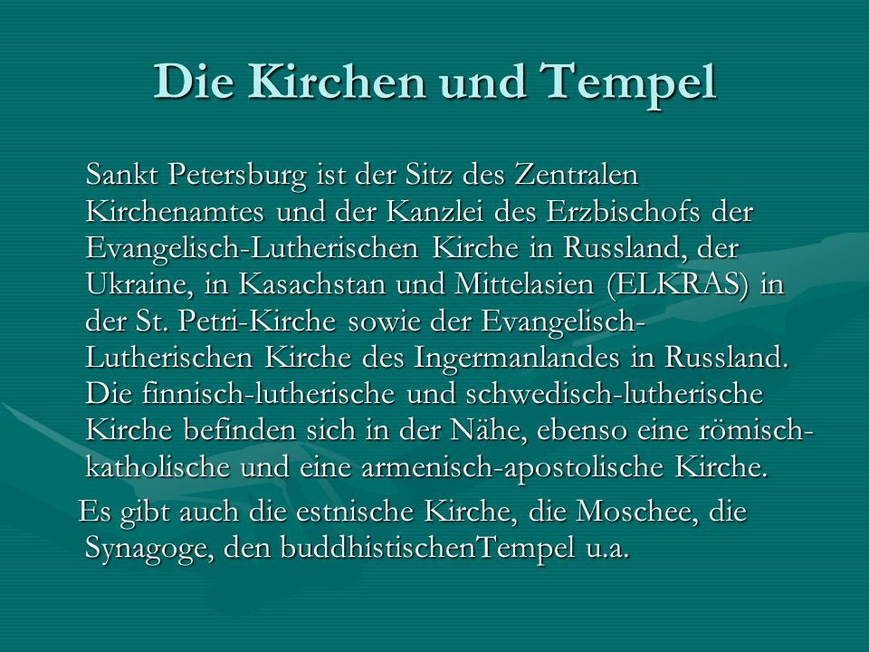 Die Kirchen und Tempel