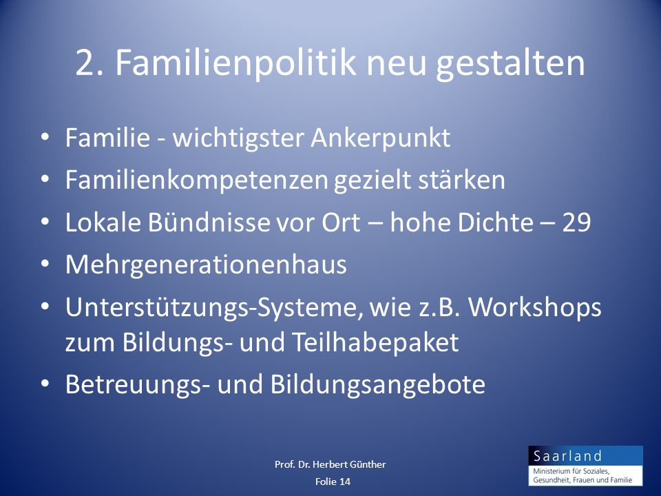 2. Familienpolitik neu gestalten