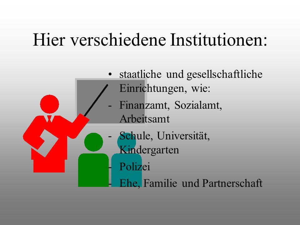 Hier verschiedene Institutionen: