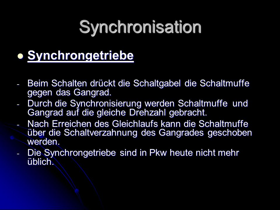 Synchronisation Synchrongetriebe