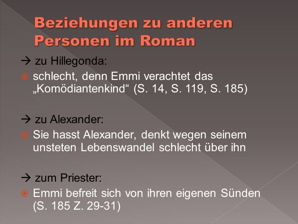 Beziehungen zu anderen Personen im Roman