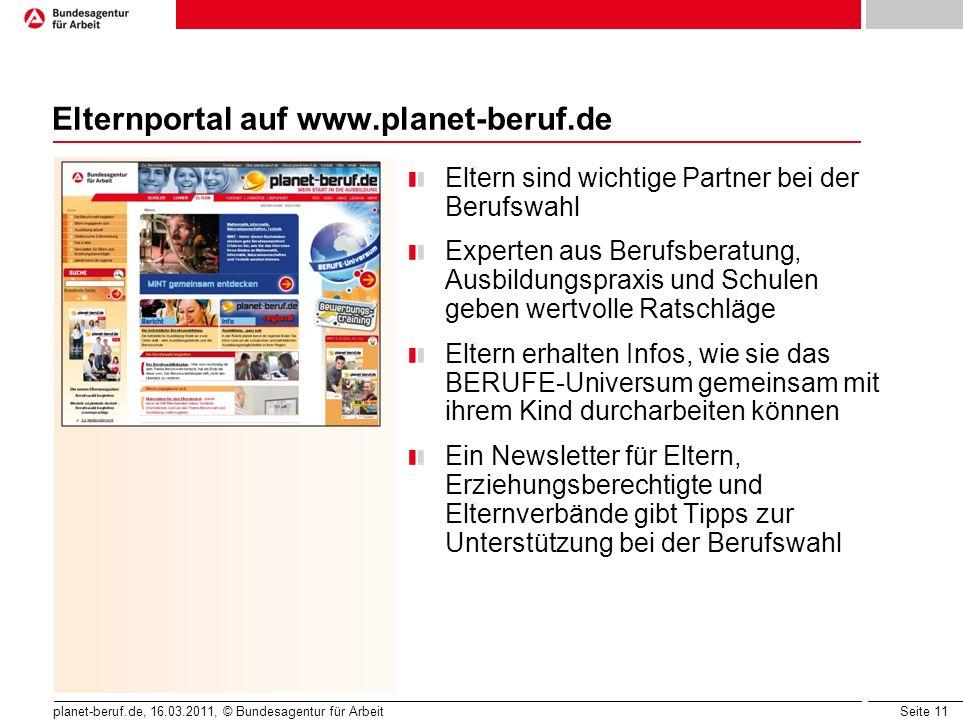 Elternportal auf www.planet-beruf.de