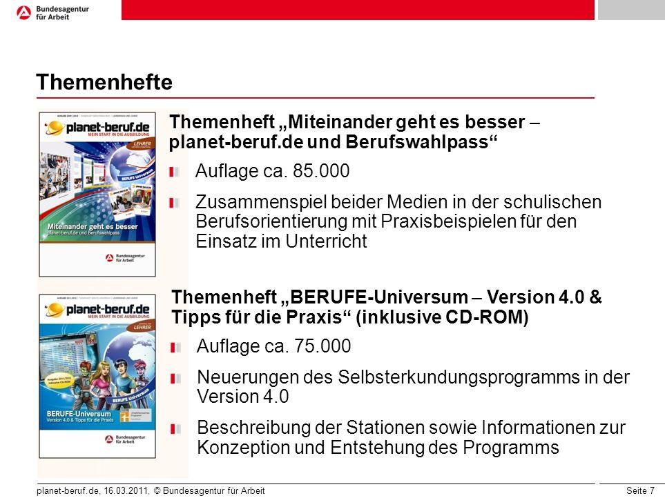 """Themenhefte Themenheft """"Miteinander geht es besser – planet-beruf.de und Berufswahlpass Auflage ca. 85.000."""