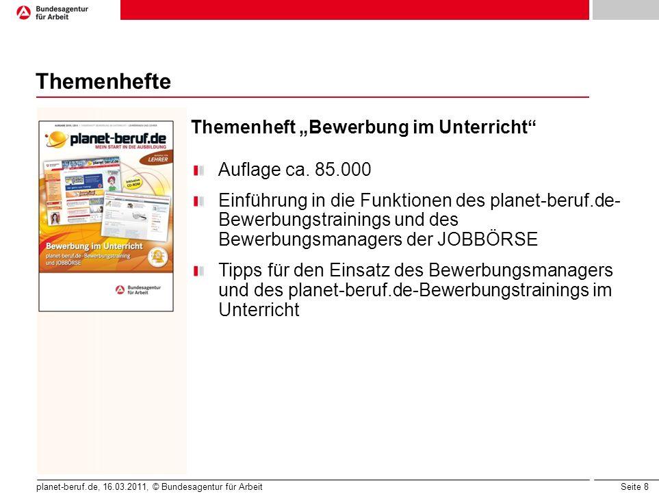 """Themenhefte Themenheft """"Bewerbung im Unterricht Auflage ca. 85.000"""