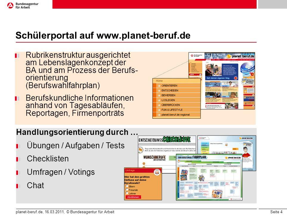 Schülerportal auf www.planet-beruf.de