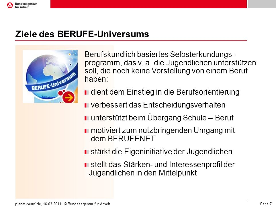 Ziele des BERUFE-Universums