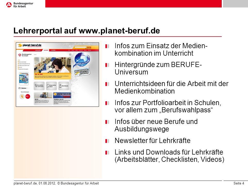 Lehrerportal auf www.planet-beruf.de