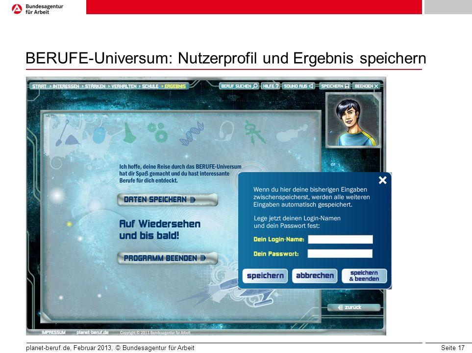 BERUFE-Universum: Nutzerprofil und Ergebnis speichern