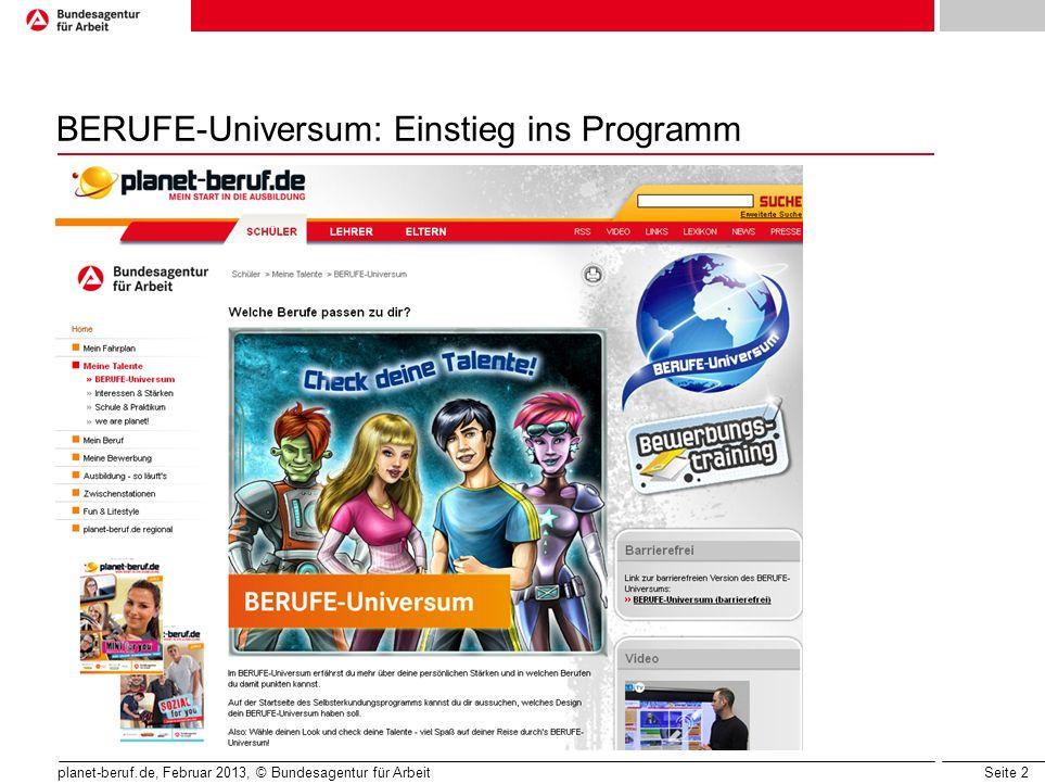 BERUFE-Universum: Einstieg ins Programm