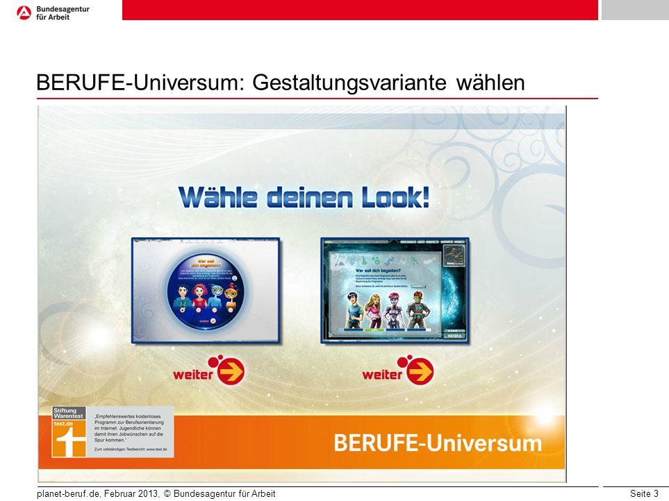 BERUFE-Universum: Gestaltungsvariante wählen