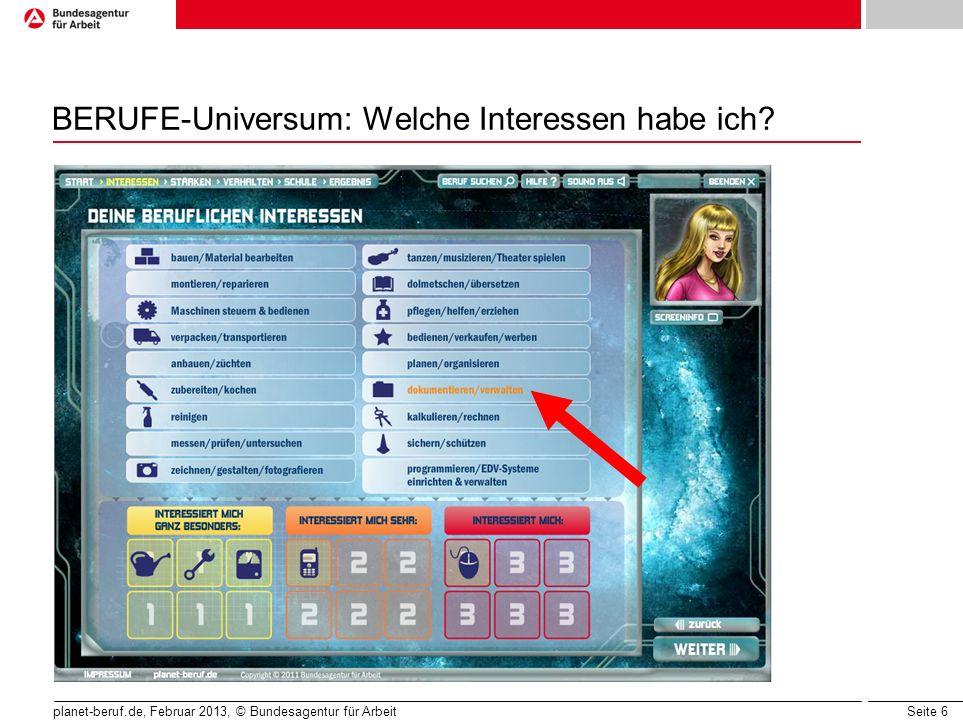 BERUFE-Universum: Welche Interessen habe ich
