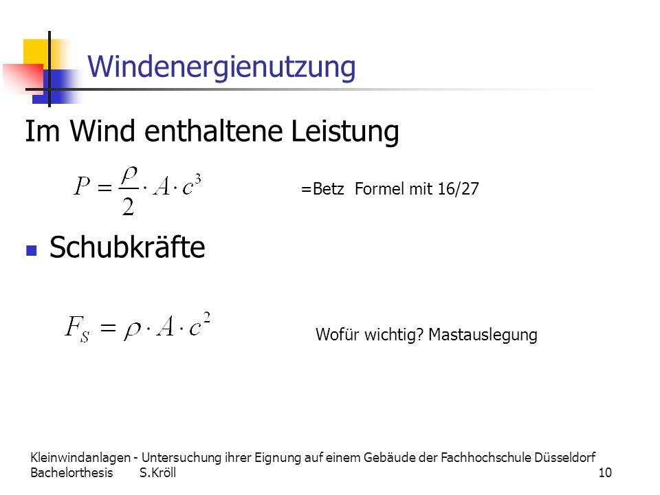 Im Wind enthaltene Leistung