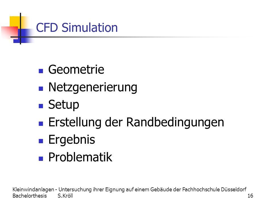 CFD Simulation Geometrie Netzgenerierung Setup Erstellung der Randbedingungen Ergebnis Problematik