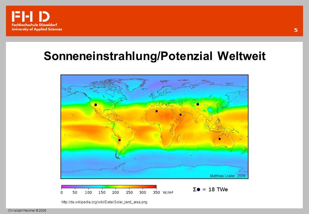 Sonneneinstrahlung/Potenzial Weltweit