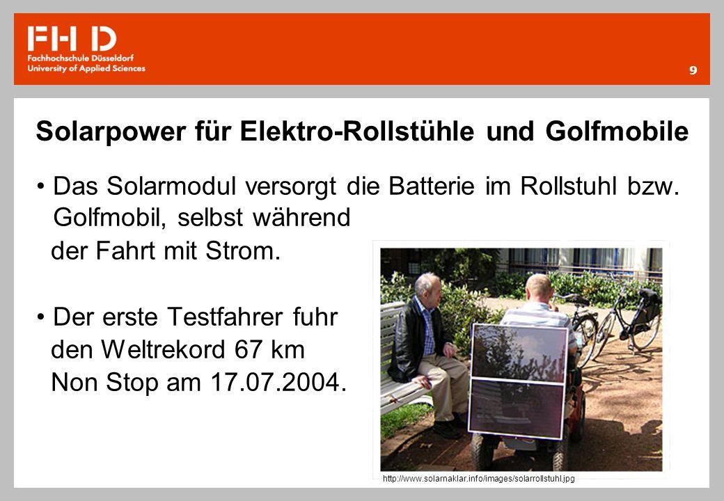 Solarpower für Elektro-Rollstühle und Golfmobile