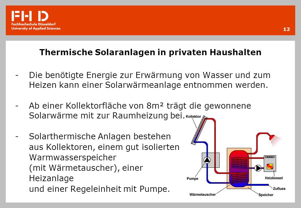 Thermische Solaranlagen in privaten Haushalten