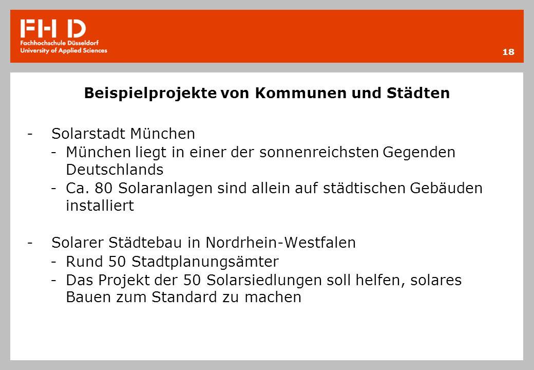 Beispielprojekte von Kommunen und Städten