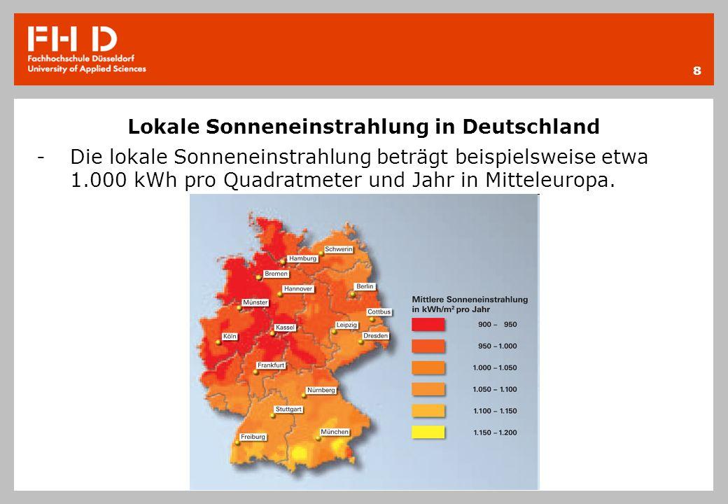 Lokale Sonneneinstrahlung in Deutschland