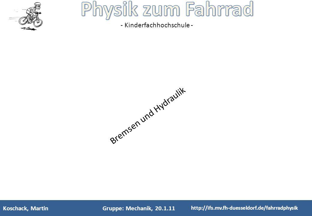 Bremsen und Hydraulik Koschack, Martin Gruppe: Mechanik, 20.1.11