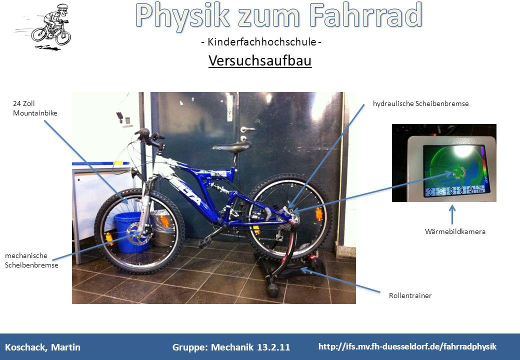 Versuchsaufbau Koschack, Martin Gruppe: Mechanik 13.2.11