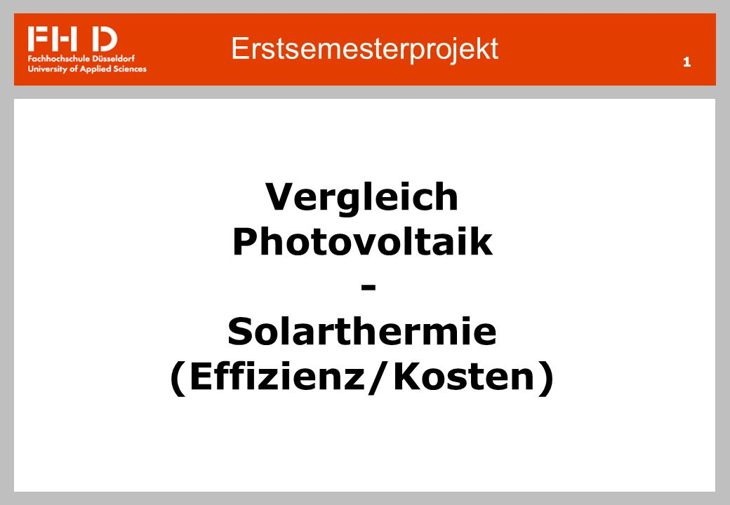 Vergleich Photovoltaik Solarthermie Effizienz Kosten Ppt Video