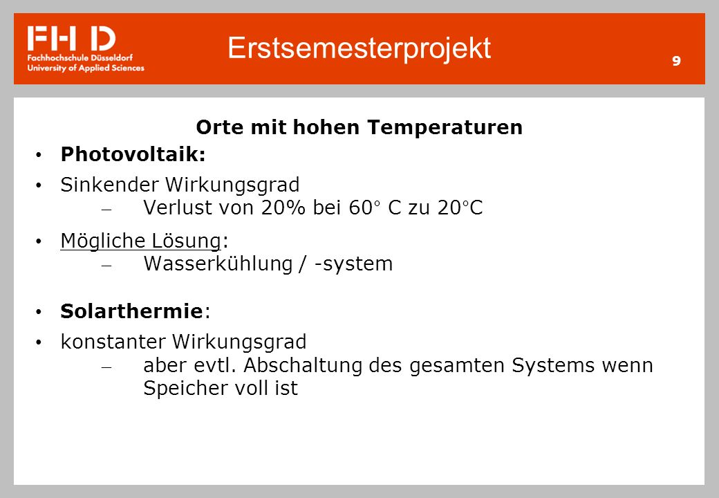 Orte mit hohen Temperaturen