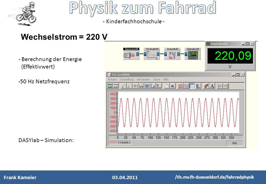 Wechselstrom = 220 V Berechnung der Energie (Effektivwert)