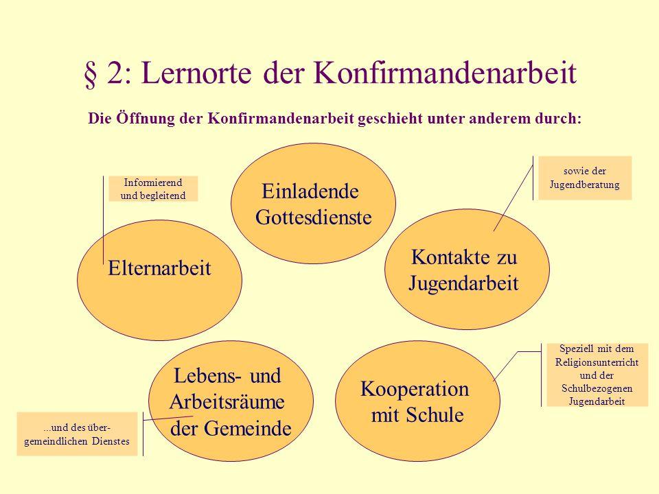 § 2: Lernorte der Konfirmandenarbeit