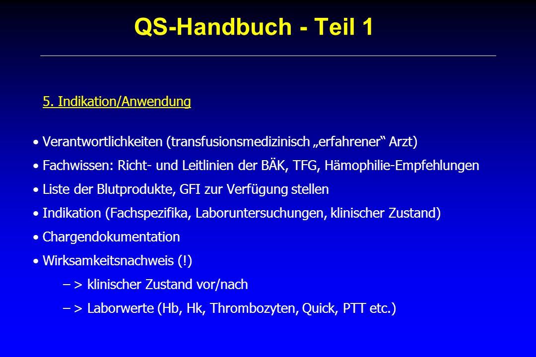 QS-Handbuch - Teil 1 5. Indikation/Anwendung