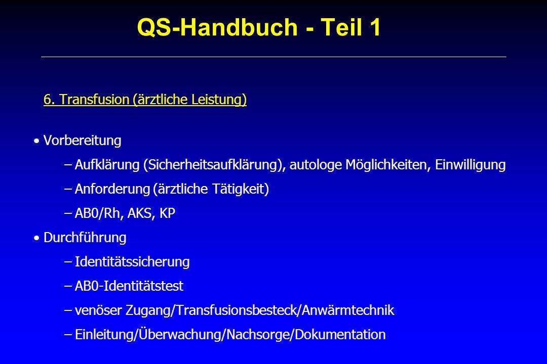 QS-Handbuch - Teil 1 6. Transfusion (ärztliche Leistung) Vorbereitung