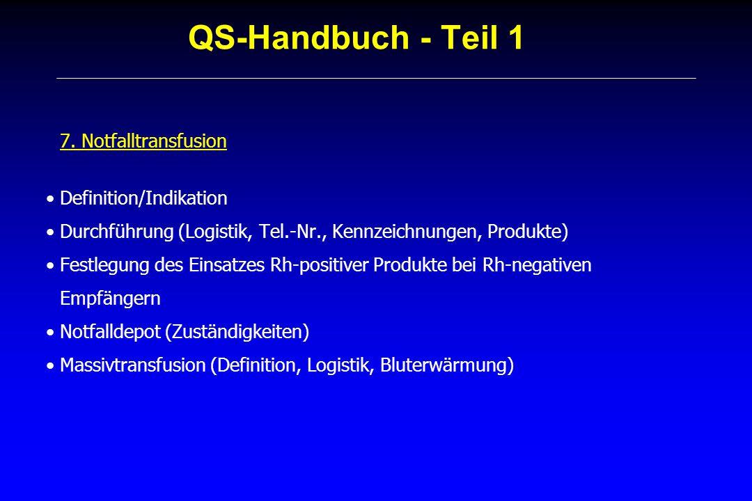 QS-Handbuch - Teil 1 7. Notfalltransfusion Definition/Indikation