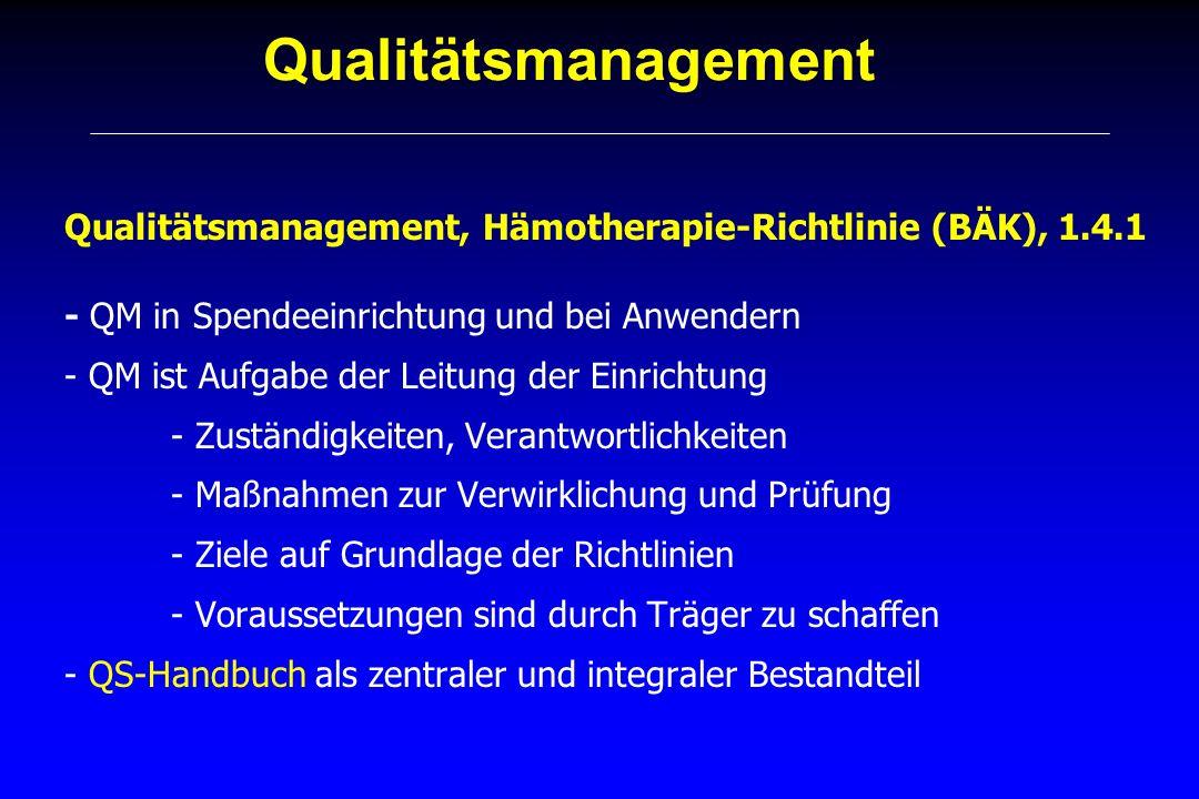 Qualitätsmanagement Qualitätsmanagement, Hämotherapie-Richtlinie (BÄK), 1.4.1. - QM in Spendeeinrichtung und bei Anwendern.