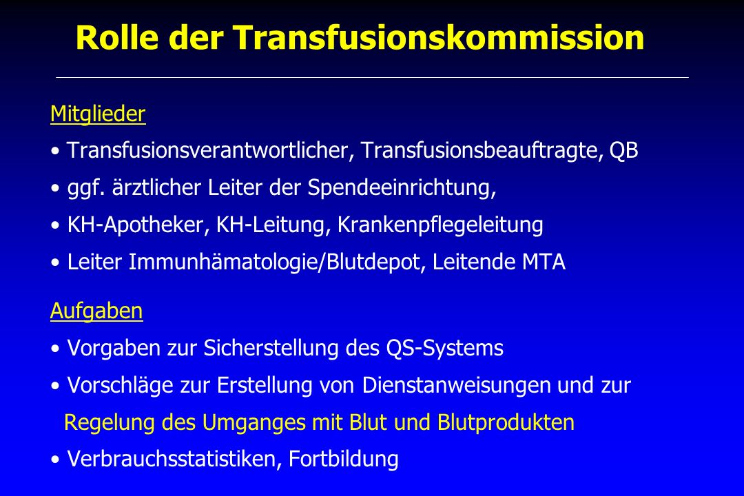 Rolle der Transfusionskommission