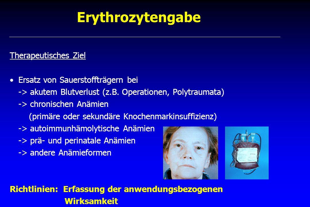 Erythrozytengabe Therapeutisches Ziel Ersatz von Sauerstoffträgern bei