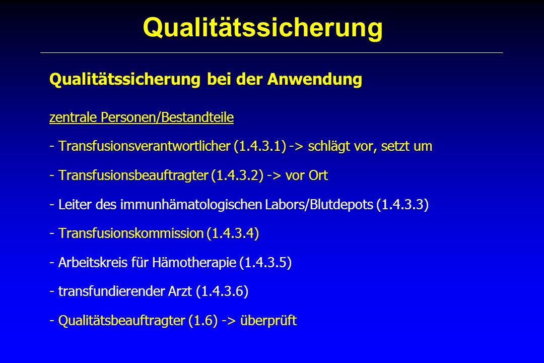 Qualitätssicherung Qualitätssicherung bei der Anwendung