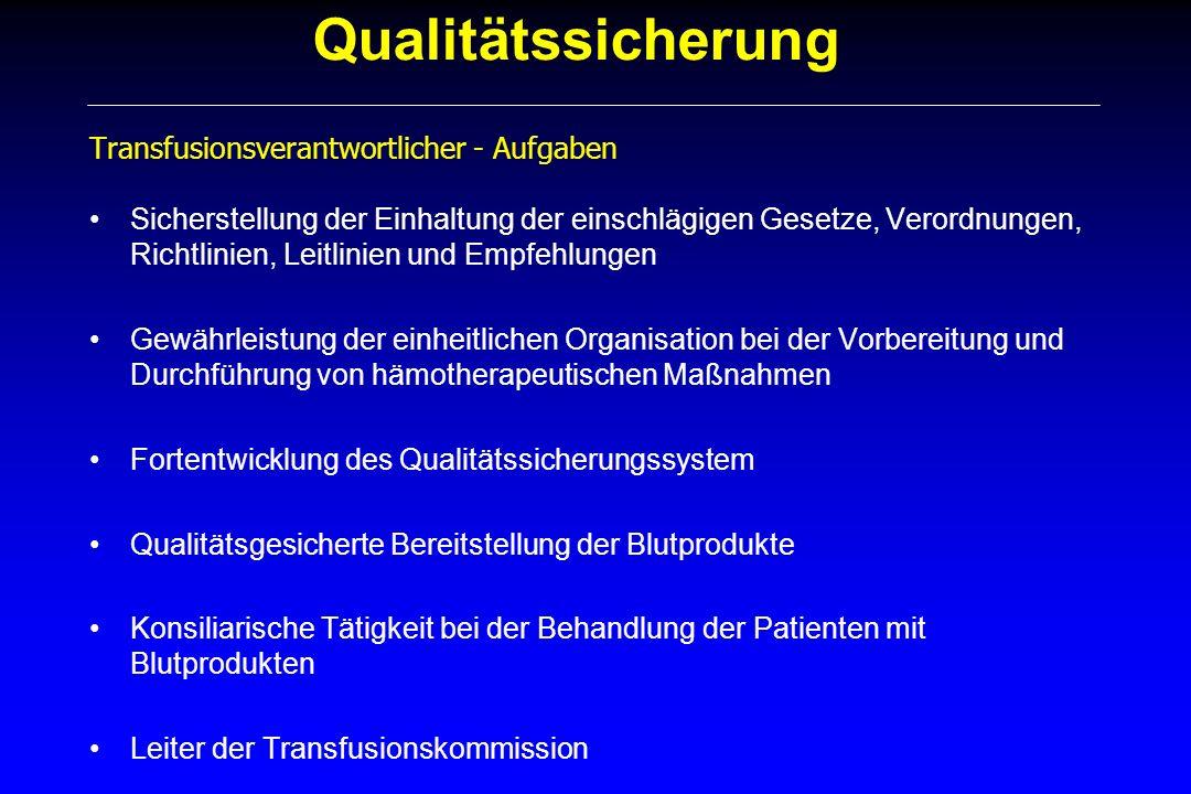 Qualitätssicherung Transfusionsverantwortlicher - Aufgaben