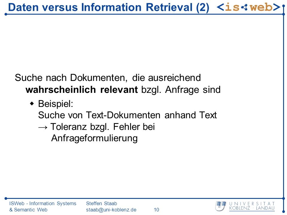 Daten versus Information Retrieval (2)