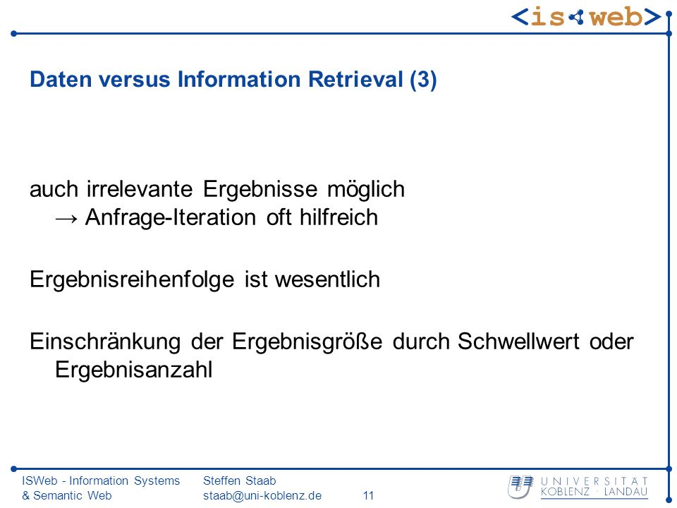Daten versus Information Retrieval (3)
